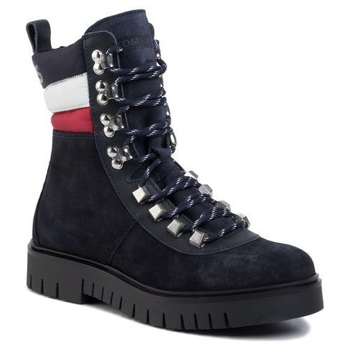 Botki TOMMY JEANS - Padded Nylon Lace Up Boot EN0EN00613 Midnight 403