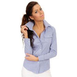 Niebieska Biznesowa Koszula w Delikatną Kratkę