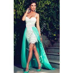 Sukienka koronkowa z szyfonowym trenem | sukienki na wesele, studniówki