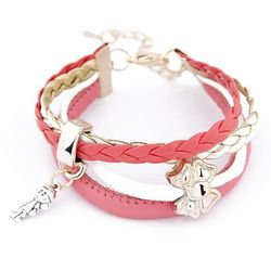 BRANSOLETKA CHARMS BOW PINK - PINK