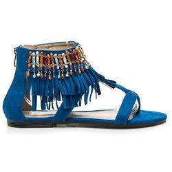 Płaskie sandały boho Almudena - odcienie niebieskiego