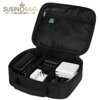 2015 SUSINO High Quality Multifunction Men's Travel Bag Storage Electronic Parts Casual Cosmetic bag Black Tote Storage Bag