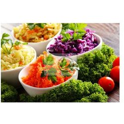 Obraz Composition with four vegetable salad bowls on wooden table