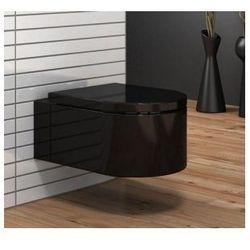 LORENT BLACK Miska WC wisząca + czarna deska duroplast wolnoopadająca, czarna