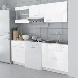 vidaXL Meble kuchenne białe na wysoki połysk 5 elementów (200 cm) Darmowa wysyłka i zwroty