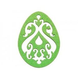 Dekoracja z filcu PISANKA AŻUR duża (I) zielona - 1 SZTUKA