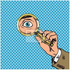Obraz Patrzeć przez szkło powiększające poszukiwaniu sztuki komiksu oczy ponownie pop