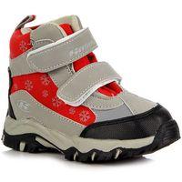 HASBY 1820 szaro-czerwone buty dziecięce śniegowce wodoodporne - szary / czerwony