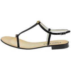 Czarne sandały lakerowane płaskie Nessi CoZaButy - Czarne 7 (czarny obcas) mt-30 (-16%)