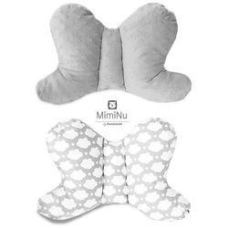 Poduszka podróżna antywstrząsowa, Motylek Minky, szary + chmurki szare, 45x29 cm Darmowa dostawa do sklepów SMYK