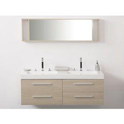 Meble łazienkowe beżowe - szafka podwieszana 2 x umywalka - MALAGA