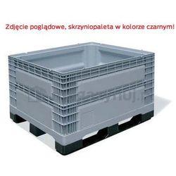 Skrzyniopaleta plastikowa pełna na 3 płozach, ścianki i dno pełne, Wym. zew.: 1200x1000x780mm, regranulat