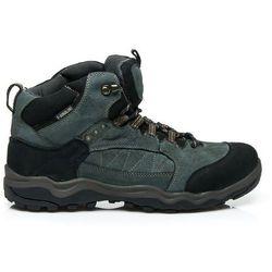 Trekkingowe męskie buty ze skóry - odcienie niebieskiego