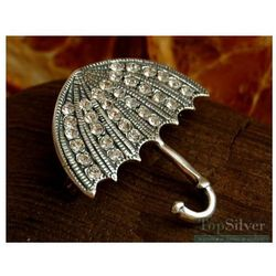 PARASOLKA - srebrna broszka 32kryształki Swarovskiegoi