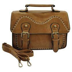 Jasnobrązowa torebka listonoszka w stylu Vintage stębnowana LIGHT BROWN - jasnobrązowy -22% Listonoszki (-22%)