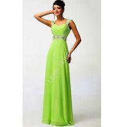 Limonkowa długa sukienka, sukienki wieczorowe