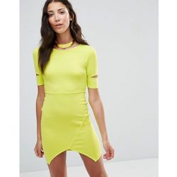 Twin Sister Bodycon Dress With Cut-Out Sleeves - Yellow