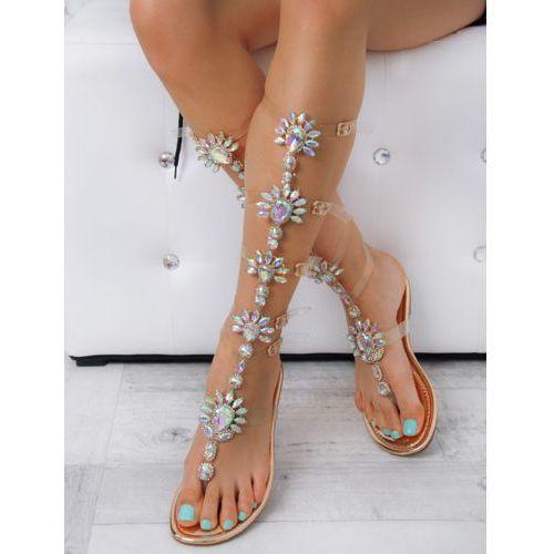 29d0a43e1e7281 Sandały z kamieniami Madam Shine Rosegold - porównaj zanim kupisz