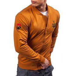 Brązowa bluza męska bez kaptura z nadrukiem Denley 0491 - BRĄZOWY