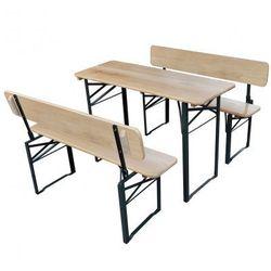 Składany stół ogrodowy z dwiema ławkami z oparciem Zapisz się do naszego Newslettera i odbierz voucher 20 PLN na zakupy w VidaXL!
