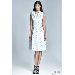 Beżowa Sukienka Midi Bez Rękawów