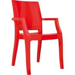Designerskie krzesło z podłokietnikami do salonu Arthur Siesta czerwone