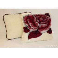 Poduszka z wełny merynosa 50x60 - Róża bordo