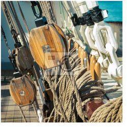 Obraz stary żaglowiec - sprzęt i liny