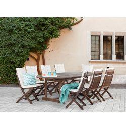 Meble ogrodowe - ogród - stół + 8 krzeseł + 8 beżowych poduszek - MAUI