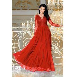 b2f2daf097 Sukienka MAXI z długim rekawem i koronką - STAR - czerwona Darmowa dostawa