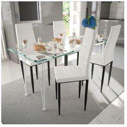 4 wysokie białe krzesła do jadalni + stół ze szklanym blatem Zapisz się do naszego Newslettera i odbierz voucher 20 PLN na zakupy w VidaXL!
