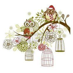 Fototapeta Sowa zimowego kwiatów. Sowy z ich koncepcji klatek wektor