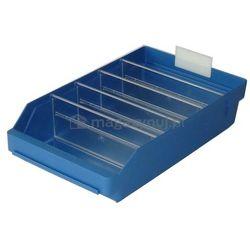 Pojemnik plastikowy warsztatowy z przekładkami. Wym: 400x240x95mm