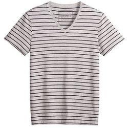 T-shirt w paski z dekoltem w kształcie litery V, krótki rękaw.