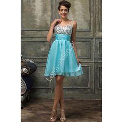 Kryształkowa sukienka z szyfonu - na studniówkę, wesele, karnawał, tukusowa | sukienki z kryształkami