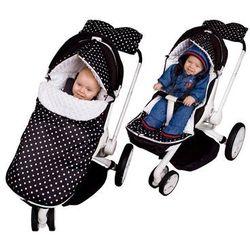 Glück Baby, Śpiworek do wózka, Groszki Minky, Czarno-biały Darmowa dostawa do sklepów SMYK