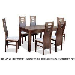 Zestaw Ares 31 Stół 80x140(+40) 6 krzeseł A75