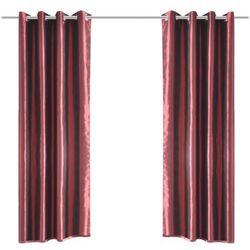 vidaXL Zasłona z tafty wszytymi metalowymi kółkami, bordowa, 140 x 245 cm, 2 sztuki Darmowa wysyłka i zwroty