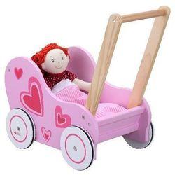 Drewniany wózek dla lalek w serduszka