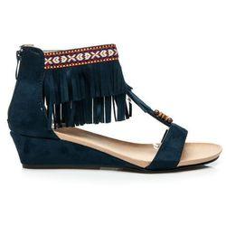 Zamszowe sandały boho Alicia - odcienie niebieskiego