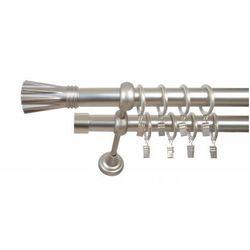 Karnisz Podwójny ELZA Ø25/19 mm Matrix : dlugosc karniszy - 280 cm, Rodzaj - Metalowy, typ karnisza - Podwójny, Kolor Karnisza - Antyczny Mosiądz, Mocowanie - Ścienne
