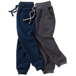 Spodnie z polaru (2 pary) bonprix ciemnoniebieski + szary melanż