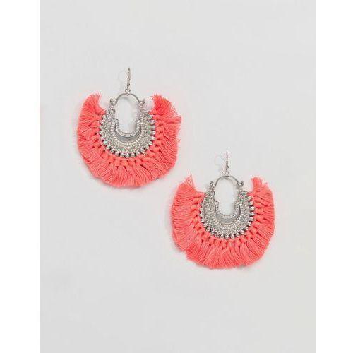 5f33c33040a4c ASOS DESIGN Engraved Burnished Tassel Hoop Earrings - Multi ...