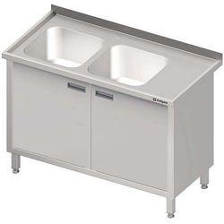 Stół ze zlewem dwukomorowym z szafką STALGAST 1400x700x850 lewy