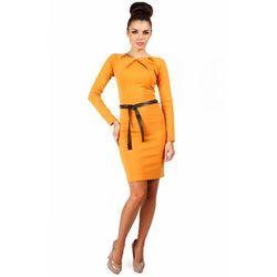 Sukienka ołówkowa z ćwiekami MOE043 miodowa