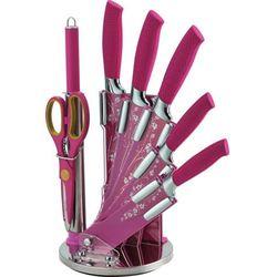 8 Elem. Zestaw Noży z Powłoką Non-Stick z Motywem kwiatowym ze Stojakiem - RL-F8W-PNK