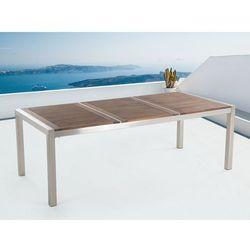 Stół ze stali nierdzewnej 220 cm - drewniany - trzyczęściowy - blat - GROSSETO