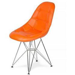Krzesło DSR Ekoskóra - Soczysty pomarańcz, nogi metalowe.