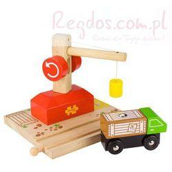 Dźwig drewniany z ciężarówką
