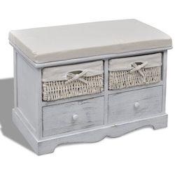 vidaXL Ławka drewniana z 4 szufladami oraz poduszką (biała) Darmowa wysyłka i zwroty